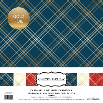 Carta Bella SEASONAL PLAID GOLD FOIL 12 x 12 Collection Kit CBFSP004