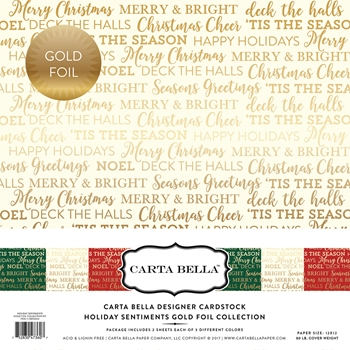 Carta Bella HOLIDAY SENTIMENTS GOLD FOIL 12 x 12 Collection Kit CBFHS004