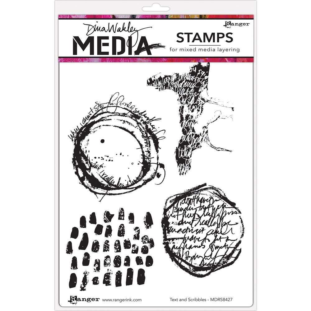 Dina Wakley TEXT AND SCRIBBLES Media Cling Rubber Stamp MDR58427 zoom image
