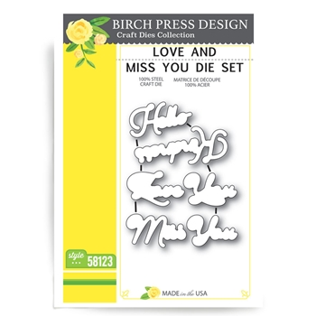 Birch Press Design LOVE AND MISS YOU Craft Die 58123