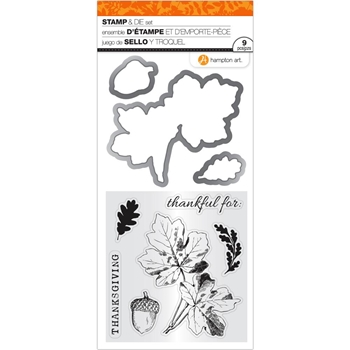 Hampton Art THANKSGIVING LEAVES Clear Stamp and Die Set SC0805