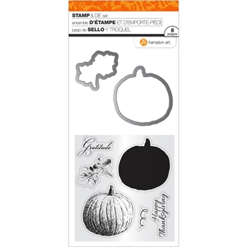 Hampton Art GRATITUDE PUMPKINS Clear Stamp and Die Set SC0806*