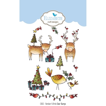 Elizabeth Craft Designs Clear Stamps REINDEER AND BIRDS CS053