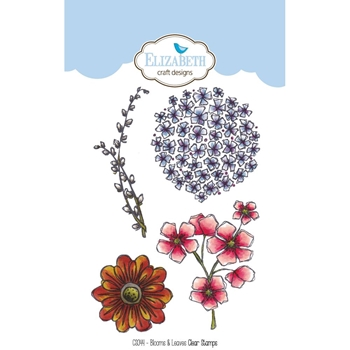 Elizabeth Craft Designs Clear Stamps BLOOMS AND LEAVES CS044