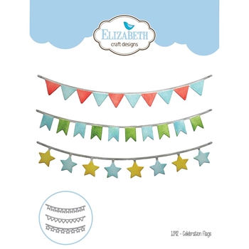Elizabeth Craft Designs CELEBRATION FLAGS Craft Die 1392