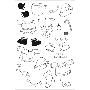 Riley and Company Clear Stamp Dress Up Riley CHRISTMAS OUTFITS RCLR10