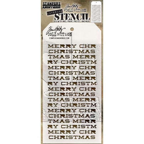 Tim Holtz Layering Stencil MERRY CHRISTMAS THS098 Preview Image