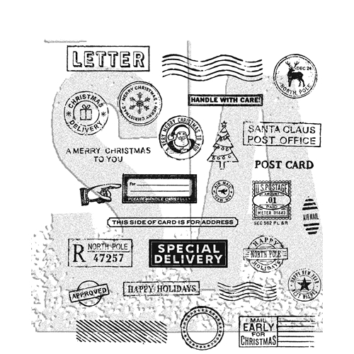 Tim Holtz Cling Rubber Stamps HOLIDAY POSTMARKS CMS323 Preview Image