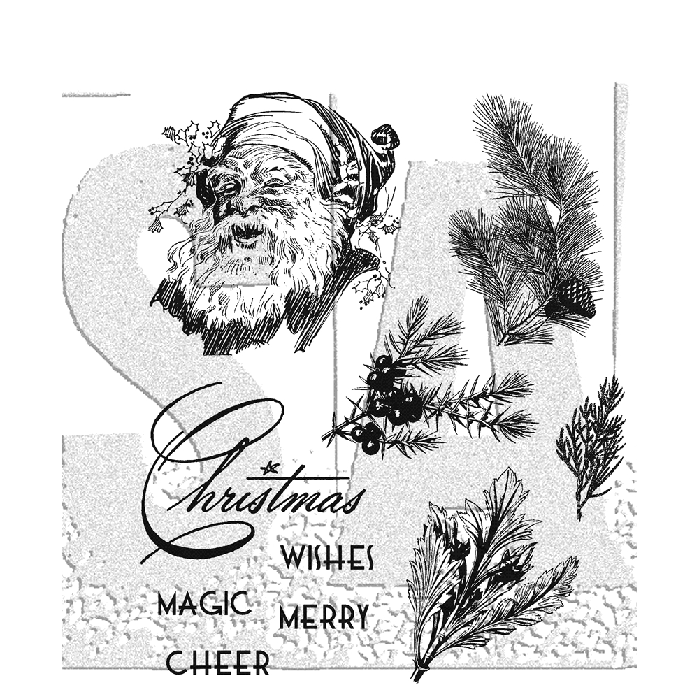 Tim Holtz Cling Rubber Stamps CHRISTMAS CLASSIC CMS322 zoom image