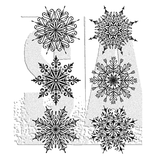 Tim Holtz Cling Rubber Stamps SWIRLY SNOWFLAKES CMS319 Preview Image