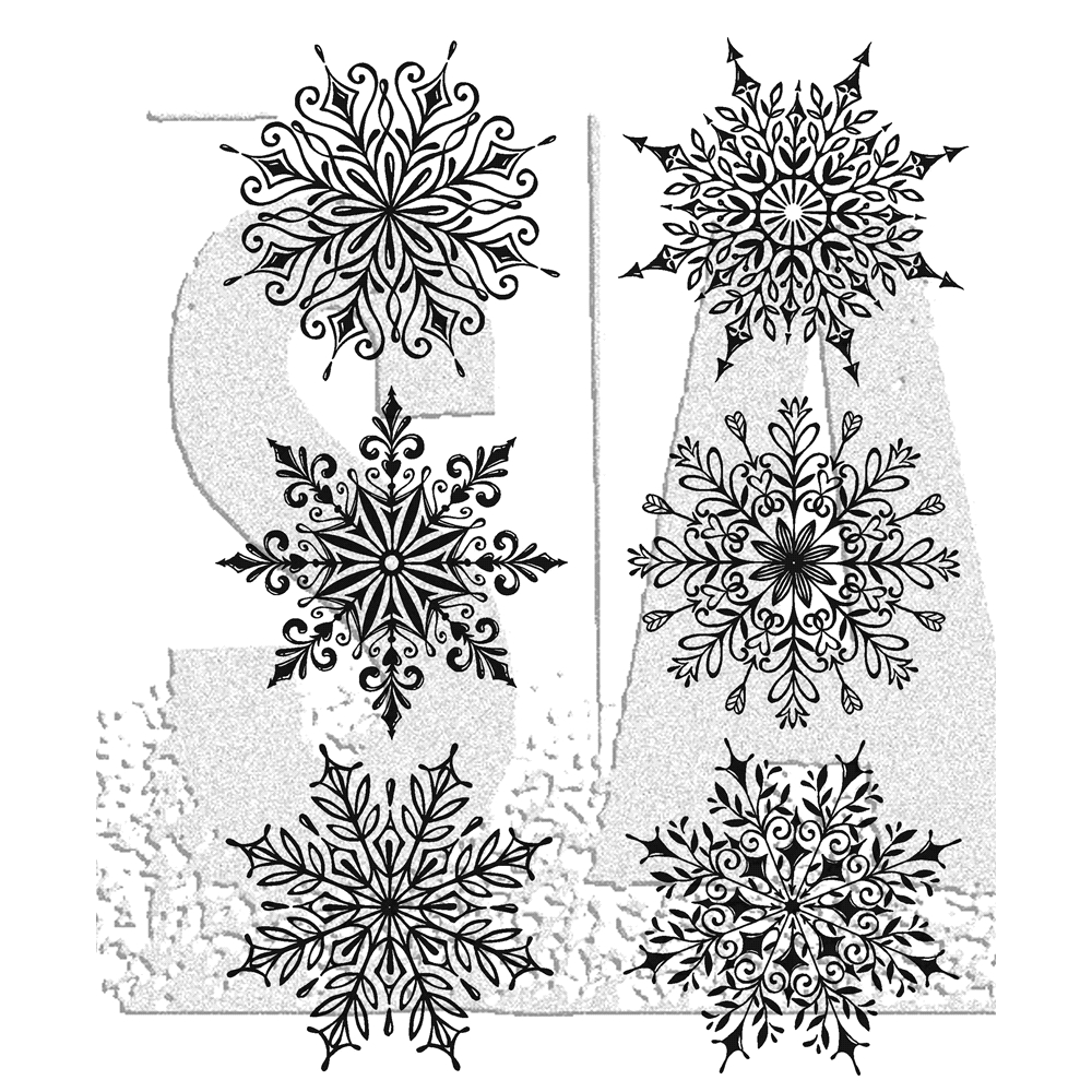 Tim Holtz Cling Rubber Stamps SWIRLY SNOWFLAKES CMS319 zoom image