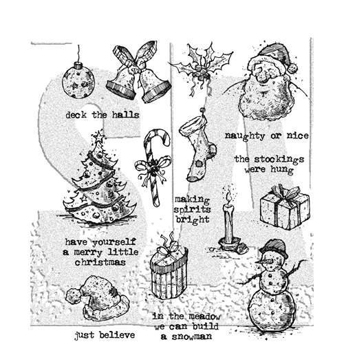 Tim Holtz Cling Rubber Stamps 2017 TATTERED CHRISTMAS CMS318 Preview Image