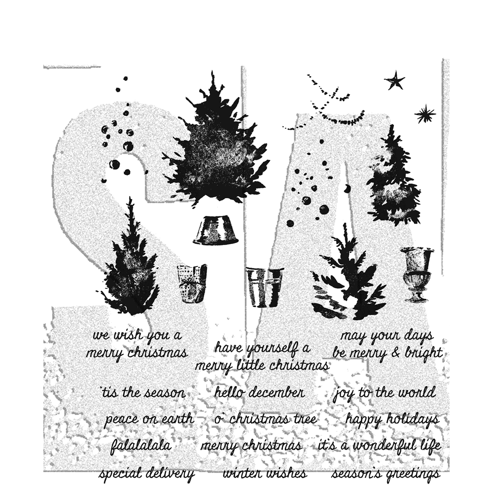 Tim Holtz Cling Rubber Stamps 2017 WATERCOLOR TREES CMS317 zoom image