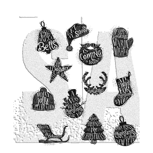 Tim Holtz Cling Rubber Stamps MINI CARVED CHRISTMAS CMS316 Preview Image
