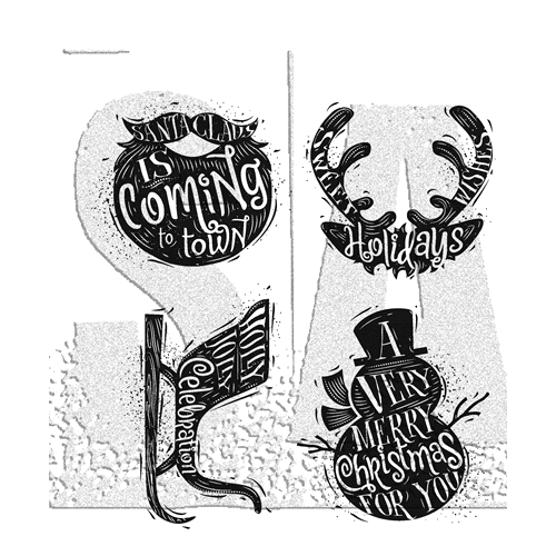 Tim Holtz Cling Rubber stamps CARVED CHRISTMAS 3 CMS315 Preview Image