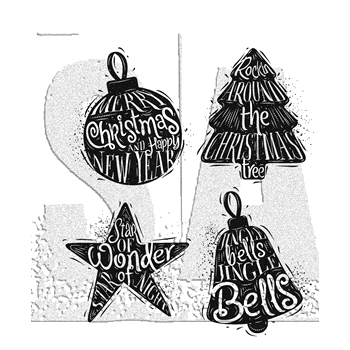 Tim Holtz Cling Rubber Stamps 2017 CARVED CHRISTMAS 2 CMS314