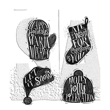 Tim Holtz Cling Rubber Stamps 2017 CARVED CHRISTMAS 1 CMS313