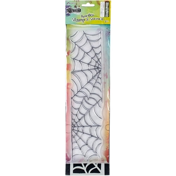 Dyan Reaveley LARGE COBWEB BORDER Dylusions Clear Stamp And Stencil DYZ54757