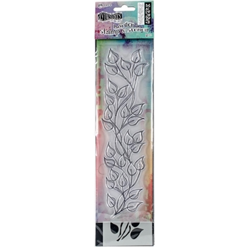 Dyan Reaveley SMALL LEAF BORDER Dylusions Clear Stamp And Stencil DYZ54795