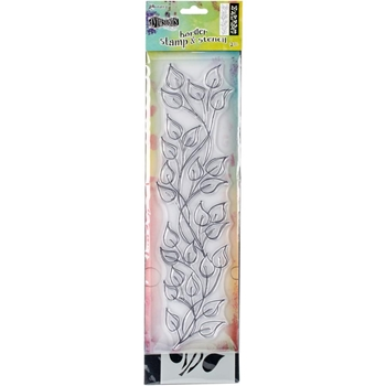 Dyan Reaveley LARGE LEAF BORDER Dylusions Clear Stamp And Stencil DYZ54764
