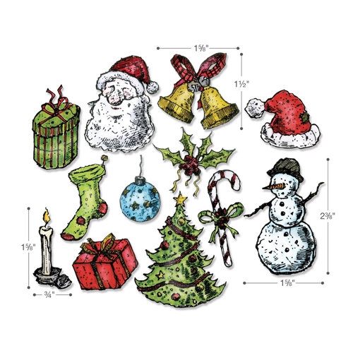 Tim Holtz Sizzix Framelits TATTERED CHRISTMAS Wafer Thin Die Set 662437 Preview Image