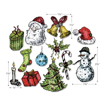 Tim Holtz Sizzix Framelits TATTERED CHRISTMAS Wafer Thin Die Set 662437