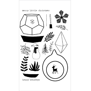 Flora and Fauna HOLIDAY TERRARIUM Clear Stamp Set 20157