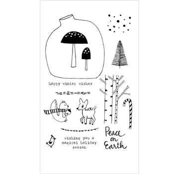 Flora and Fauna WINTER WOODLAND Clear Stamp Set 20156