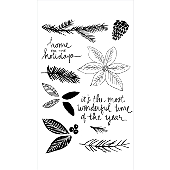 Flora and Fauna POINSETTIA WATERCOLOR Clear Stamp Set 20154