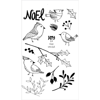 Flora and Fauna WINTER AVIARY Clear Stamp Set 20151