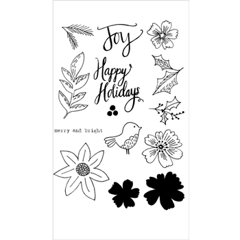 Flora and Fauna FLORAL HAPPY HOLIDAYS Clear Stamp Set 20152