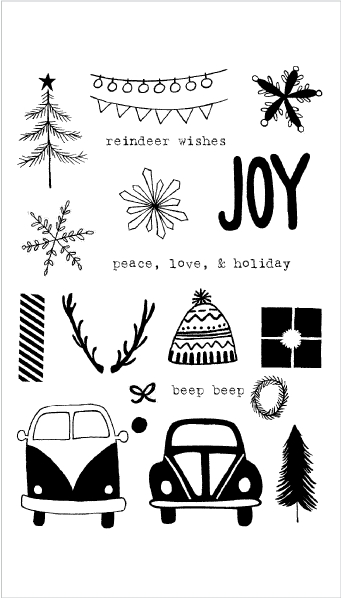 Flora and Fauna DRIVING TO THE HOLIDAYS Clear Stamp Set 20147 zoom image