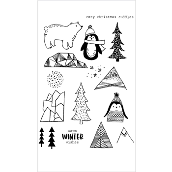 Flora and Fauna COZY CUDDLES PENGUIN Clear Stamp Set 20150