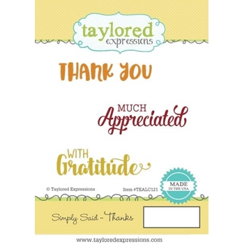 Taylored Expressions SIMPLY SAID THANKS Cling Stamp Set TEALC121