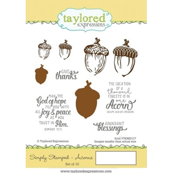 Taylored Expressions SIMPLY STAMPED ACORNS Cling Stamp Set TEMD117