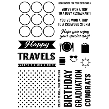 Inky Antics HAPPY TRAVELS GIFT CARD Clear Stamp Set 11376MC