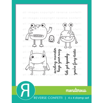 Reverse Confetti MONSTEROUS Clear Stamp Set