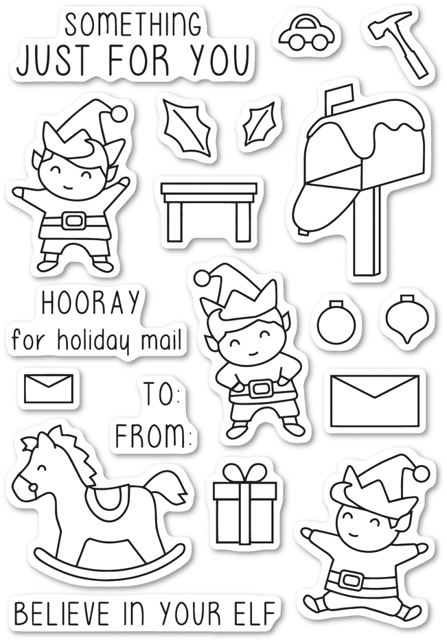 Memory Box Clear Stamps CHRISTMAS ELVES Open Studio CL5217 zoom image