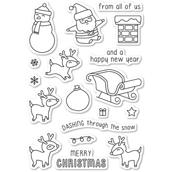 Memory Box Clear Stamps DASHING WITH REINDEER Open Studio CL5215