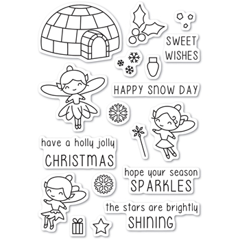 Memory Box Clear Stamps WINTERTIME FAIRIES POPPY STAMPS CL458
