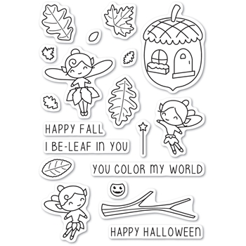 Memory Box Clear Stamps AUTUMN FAIRIES POPPY STAMPS CL459