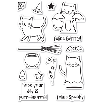 Memory Box Clear Stamps FELINE SPOOKY POPPY STAMPS CL460