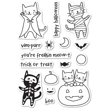 Memory Box Clear Stamps HALLOWEEN COSTUME CATS POPPY STAMPS CL461
