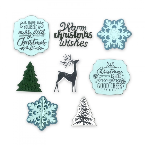 Sizzix Framelits CHRISTMAS IS HERE Combo Die and Stamp Set 662280 Preview Image