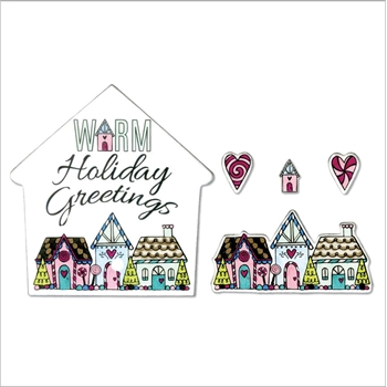 Sizzix Framelits WARM HOLIDAY GREETINGS Combo Die and Stamp Set 662446