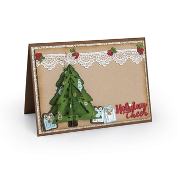 Sizzix CHRISTMAS TREE CARD FLIP AND FOLD Thinlits Die Set 662281