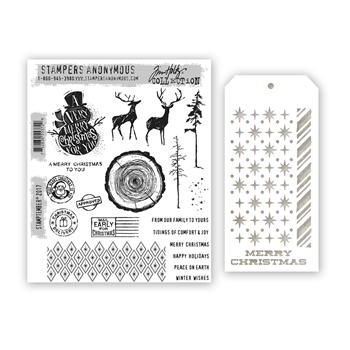 Tim Holtz STAMPTEMBER Cling Rubber Stamps and Stencil 55372 Stamptember Exclusive