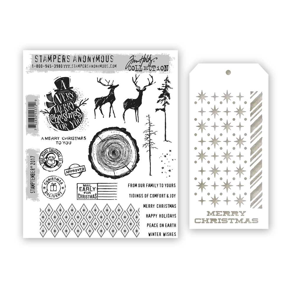 Tim Holtz STAMPTEMBER Cling Rubber Stamps and Stencil 55372 Stamptember Exclusive zoom image