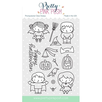 Pretty Pink Posh TRICK OR TREAT FRIENDS Clear Stamp Set