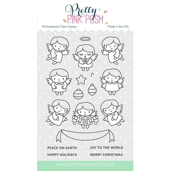 Pretty Pink Posh ANGEL FRIENDS Clear Stamp Set